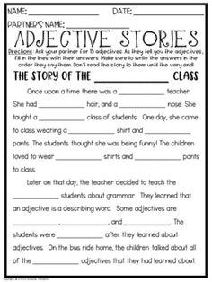 Adjectives Stories FREEBIE by Thompson's Teachings - - - Amanda Thompson Persuasive Writing, Teaching Writing, Teaching English, Adjectives Activities, Fun Activities, Fifth Grade, Grade 2, Writing Ideas, Creative Writing