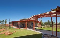 Image 1 of 50 from gallery of Roebourne Children and Family Centre / Iredale Pedersen Hook Architects. Photograph by Peter Bennetts Aboriginal Children, Building Extension, Children And Family, Canopy, Architecture Design, Centre, Pergola, Australia, Exterior