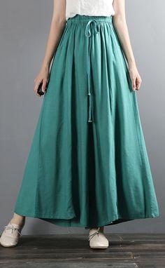 blue wide leg pants cotton linen casual long pants Fall Skirts, Fall Dresses, Cotton Dresses, New Long Dress, New Dress, Cocoon Dress, Linen Pants, Wide Leg Pants, Cotton Linen