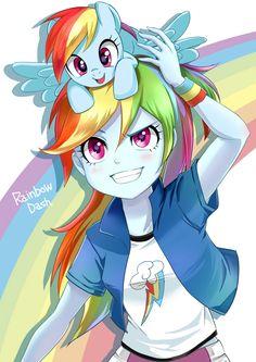 Rainbow Dash pony and Equestria Girl! Dessin My Little Pony, My Little Pony Comic, My Little Pony Characters, My Little Pony Drawing, My Little Pony Pictures, Mlp My Little Pony, My Little Pony Friendship, Rainbow Dash, M Anime
