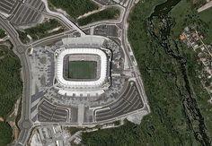 Imagem de satélite mostra o estádio Arena Pernambuco, em São Lourenço da Mata (PE)