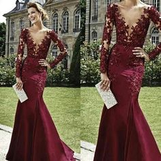 2015 Burgundy Prom Dresses Elegant Women Vestidos Hot Selling Plunging Neckline Mermaid Evening Dress Long Sleeves Long Evening Gowns Sexy