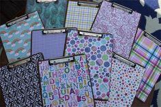 CUTE!  -  Scrapebook paper covered clipboards from Fun in 1st Grade