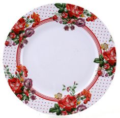 KATIE ALICE Shabby Chic Scarlet Posy WHITE FLORAL Dinner Plate
