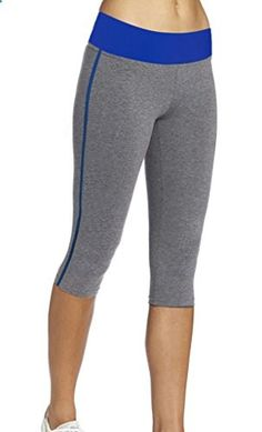 iLoveSIA Women's Tight Capri Workout 3/4 Legging US Size M GreyBlue  Go to the website to read more description.