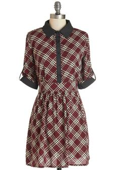 Bookish Beauty Dress. You know that brainy is beautiful, so you deck yourself out in this darling plaid shirt dress and head to the library.  #modcloth