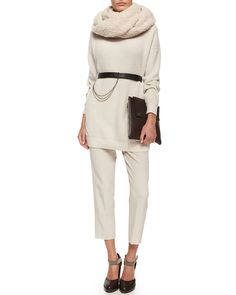 Brunello Cucinelli Silk-Back Cashmere Combo Sweater, Pleated Crepe Cropped Pants, Leather Belt w/ Chain Detail, Cashmere-Blend Boucle Knit Scarf & Monili Trimmed Leather Clutch Bag