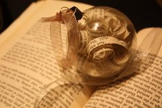 "Vintage ""Wuthering Heights"" Glass and Paper Ornament - Emily Bronte Home Decor."