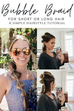 Let me show you how to create this dramatic look that takes only minutes! The bubble braid is all the rage, but it is super simple. No matter your skill level, you can achieve this hairstyle. Braided Hairstyles Tutorials, Easy Hairstyles, Dramatic Look, Ponytail Holders, Hair A, Super Simple, Rage, Hair Ideas, Mirrored Sunglasses