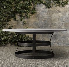 """Weathered Concrete Metal Basket Round Dining Table. Custom 84"""" diameter top to accommodate 8 comfortable armchairs"""