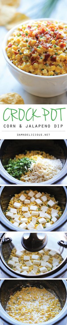4 slices bacon, diced  3 (15.25-ounces) cans whole kernel corn, drained  2 jalapenos, seeded and diced  1/2 cup sour cream  1 cup shredded Pepper Jack cheese  1/4 cup grated Parmesan cheese  Kosher salt and freshly ground black pepper, to taste  8 ounces cream cheese, cubed  2 tablespoons chopped chives Slow Cooker Corn and Jalapeno Dip
