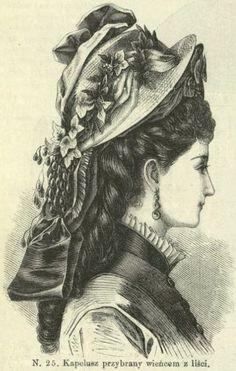 Kapelusz przybrany wieńcem z liści, sierpień 1875 Hat decorated with a leaf wreath, August 1875
