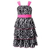 Bloome Girls Dress, Girls Tiered Zebra Dress