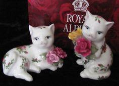 Royal Albert Old Country Roses Figurine Kitty Cat Salt Pepper Shakers