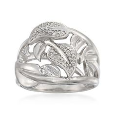 .16 ct. t.w. Diamond Leaf Ring in Sterling Silver