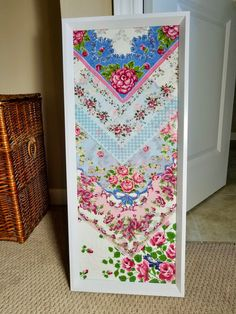 How to Frame Vintage Handkerchiefs DIY This is a simple wall art project for my collection of my late mother-in-law's vintage handkerchiefs. I found this rectangular frame at Ik… Doilies Crafts, Fabric Crafts, Sewing Crafts, Crochet Doilies, Diy Crochet, Embroidery Designs, Vintage Embroidery, Embroidery Thread, Simple Wall Art