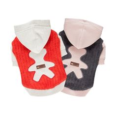 Both warm and adorable for your pet, the Puppia Bernie Dog Sweater features a vertical stripe and solid pattern with a cute bear applique on the back. This dog sweater with hood comes in orange-red or melange grey colors and is made from an acrylic/wool/n