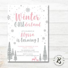 Winter Onederland Birthday Invitations - 1st Birthday Invitation - Girl First Birthday Invites _ KBW10 Pink, Gray, Silver