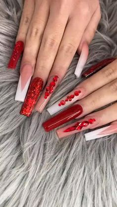 Long Red Nails, Red Ombre Nails, Coffin Nails Long, Bling Acrylic Nails, Glittery Nails, 21st Birthday Nails, Long Square Acrylic Nails, Acylic Nails, Nails Now