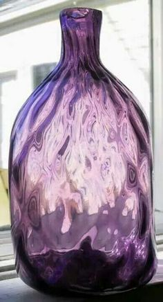 hand blown purple bottle