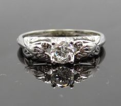 Feminine 1940s Intricate Design 18K White Gold Diamond Engagement Ring