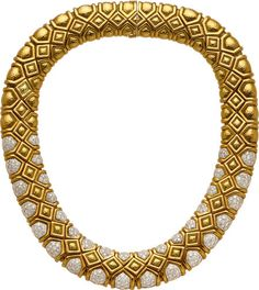 Estate Jewelry:Necklaces, Diamond, Platinum, Gold Necklace, David Webb. ... Image #1   LOT# 54061