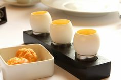 Buttery cheese gougère and creamy sabayon with a bright grassy chive oil - Eleven Madison Park - New York