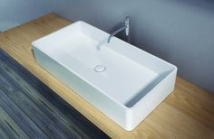 X Tone Solid surface opbouwwastafel B80xD40xH15cm rechthoek met waste wit mat CTS2013 E654