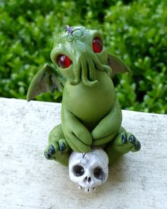 Cutethulhu, eldergods at their most adorable. Polymer clay Sculpture by Mystic Reflections.