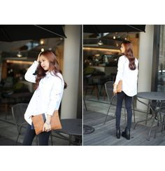 Korea womens shopping mall [styleberry] Point back button Classic Cotton Shirt   / Size : FREE / Price : 36.17 USD #korea #fashion #style #fashionshop #styleberry #lovely #top #blouse #white #shirt #basic #simple #dailyfashion #dailylook #simplelook