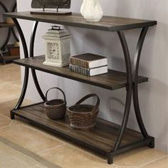 Carter Wooden and Metal Console Table Iron Furniture, Steel Furniture, Industrial Furniture, Console Metal, Console Table, Welding Table Diy, Welding Cart, Welding Ideas, Round Accent Table