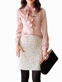 Pink 55% Artificial Silk 45% Spandex Womens Tops - Milanoo.com