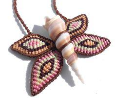 Macrame and shell butterfly necklace di makramaSMA su Etsy, $35.00