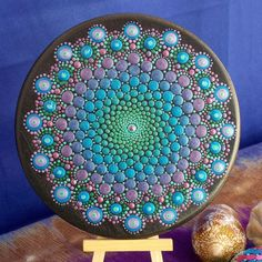 6 in. Wood Mandala, Dot Mandala Painting, Metallic Turquoise to Metallic Purple, Display Easel Included, Unique one of a Kind by KailasCanvas on Etsy