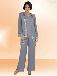 2018 silver gray chiffon mother of the bride pants suits embroidery womens formal evening wear custom made plus size wedding guest dress the doctors mom mother of the bride suit from suelee_dress. Mother Of The Groom Suits, Mother Of Groom Dresses, Mothers Dresses, Evening Pant Suits, Evening Dresses, Vestidos Mob, Wedding Pantsuit, Pantalon Costume, Mob Dresses