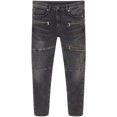 Super Slim-Fit Biker Jeans ($24) ❤ liked on Polyvore featuring jeans, gray jeans, grey biker jeans, biker jeans, grey jeans and faded jeans