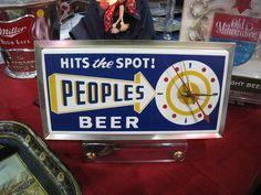 Peoples Beer Sign - vintage beer,origin -oshkosh,wi
