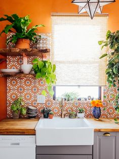 kitchen / backsplash / orange tile / farm sink / home style / home design / indoor plants / bohemian kitchen