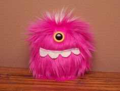 Pink Mini Cyclops Beastie // Cute Handheld Plush Monster