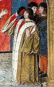 reine roi et dauphin, Pierre de Bourbon, époux d'Anne de France, détail du Frontispice des Status de l'ordre de St-Michel v 1455