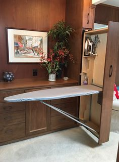 Full-size ironing board & room for ironing accessories stored in of space! Full-size ironing board & room for ironing accessories stored in of space! Bedroom Closet Design, Home Room Design, Home Interior Design, Space Saving Furniture, Home Decor Furniture, Furniture Design, Laundry Room Layouts, Laundry Room Inspiration, Iron Table