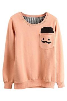 ROMWE | ROMWE Human Head Appliqued Pocketed Pink Sweatshirt, The Latest Street Fashion