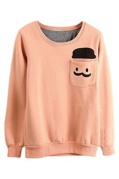 ROMWE | ROMWE Human Head Appliqued Pocketed Pink Sweatshirt, The Latest Street Fashion