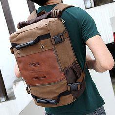 New-Mens-Vintage-Canvas-backpack-Rucksack-laptop-shoulder-travel-Camping-bag