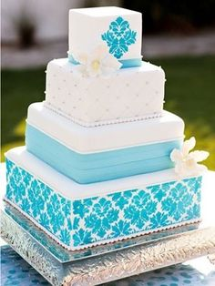 Indian Weddings Inspirations. Blue wedding cake.  http://www.pinterest.com/nricouple/ Follow our wedding boards for great ideas!