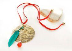Life-Boho necklacebig circle pendanthammered brass