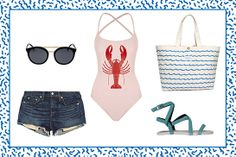"""The """"No Shirt, No Problem"""" Outfit  rag & bone Mila Cut-off Denim Shorts, $165, available at Net-A-Porter; Le Specs Black Lagoon, $59.95, available at Le Specs; WILDFOX Shipwrecked Swimsuit, $217.78, available at Harrods; M. Carter Wave Tote, $75, available at Madewell; Tibi Melia Sandal, $165, available at Tibi.  I WANT EVERYTHINGGG HERE"""