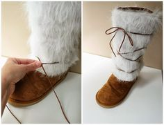 Damen Suede & Fur Boot Cover Ups - Nähanleitung - Mein Stil Club Sewing Tutorials, Sewing Projects, Sewing Hacks, Sewing Ideas, Diy Projects, How To Make Boots, Diy Clothes Refashion, Diy Clothes Videos, Fur Clothing