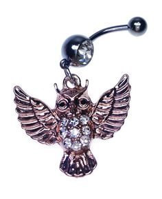 * Penny Deals * - 14G Owl Dangle Belly Ring With Clear Gem ** Find out more about the great product at the image link.