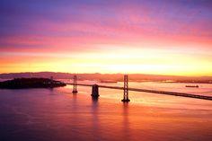 San Franisco Bay Bridge at Sunrise.